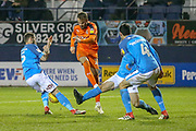 Luton Town midfielder Andrew Shinnie (11) shoots towards goal during the EFL Sky Bet League 1 match between Luton Town and Bradford City at Kenilworth Road, Luton, England on 27 November 2018.