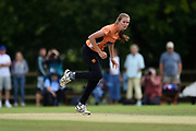 Lauren Bell of Southern Vipers bowling during the Women's Cricket Super League match between Southern Vipers and Surrey Stars at Arundel Castle, Arundel, United Kingdom on 18 August 2019.