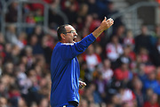 Chelsea manager Maurizio Sarri in the technical area during the Premier League match between Southampton and Chelsea at the St Mary's Stadium, Southampton, England on 7 October 2018.