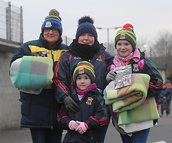 Ready for the elements&hellip;Frances Reape, Knockmore with Maeve, Karen and Laoise McGowan from Crossmolina pictured at the Mayo v Dublin league match at McHale park.<br /> Pic Conor McKeown
