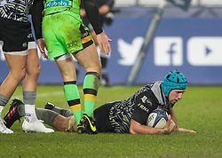 Ospreys' Justin Tipuric scores his sides third try<br /> <br /> Photographer Simon King/Replay Images<br /> <br /> EPCR Champions Cup Round 4 - Ospreys v Northampton Saints - Sunday 17th December 2017 - Parc y Scarlets - Llanelli<br /> <br /> World Copyright © 2017 Replay Images. All rights reserved. info@replayimages.co.uk - www.replayimages.co.uk