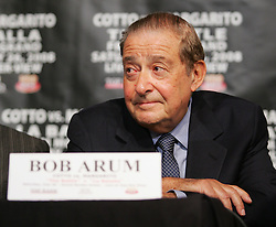 May 22, 2008; New York, NY, USA;  Top Rank Promoter Bob Arum speaks during the press conference announcing the fight between WBA Welterweight Champion Miguel Cotto and Antonio Margarito.  The two will meet on Saturday, July 26, 2008 at the MGM Grand Garden Arena in Las Vegas, NV.