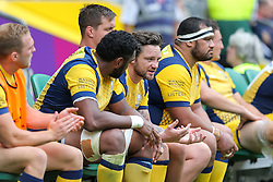 Ryan Lamb of Worcester Warriors looks frustrated from the dugout - Rogan Thomson/JMP - 03/09/2016 - RUGBY UNION - Twickenham Stadium - London, England - Saracens v Worcester Warriors - Aviva Premiership London Double Header.