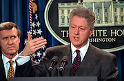US President Bill Clinton makes a statement in the Briefing Room of the White House November 15, 1998 in Washington, DC. Clinton announced that he called off airstrikes on Iraq after Saddam Hussein agreed to allow the UN to resume weapon inspections.