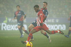 January 19, 2019 - Huesca, Aragon, Spain - Lemar of Atletico de Madrid (11) shoots towards goal during the Spanish League football match between SD Huesca andClub Atletico de Madrid at the El Alcoraz stadium in Madrid on January 19, 2019. Atletico wins 0-3. (Credit Image: © Daniel Marzo/Pacific Press via ZUMA Wire)