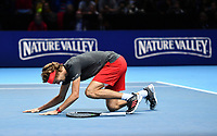 Tennis - 2018 Nitto ATP Finals at The O2 - Day Eight<br /> <br /> Final Singles: Novak Djokovic (SRB) vs. Alexander Zverev (GER)<br /> <br /> Zverev sinks to his knees as he claims the title 6-4, 6-3.<br /> <br /> COLORSPORT/ASHLEY WESTERN