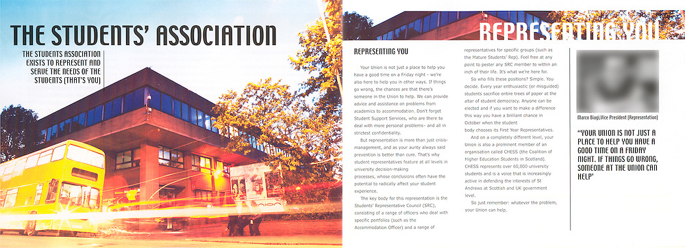 St. Andrews Students Association Brochure. Printed & Designed by West Port Print & Design, St. Andrews. All rights reserved.