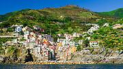 The village of Riomaggiore from the water, Cinque Terre, Liguria, Italy