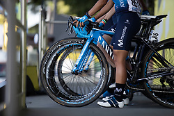 Movistar Women's Team rides to the sign-on podium before La Course by Le Tour de France, a 121 km road race starting and finishing in Pau, France on July 19, 2019. Photo by Balint Hamvas/velofocus.com
