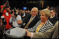 Vince Cable with his wife Rachel donate to the party before the Deputy Prime Minister Nick Clegg delivers his keynote speech at the end of the Liberal Democrats Conference in Brighton, Wednesday September 26, 2012 Photo Andrew Parsons / i-Images..