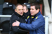 Gillingham FC manager Steve Lovell and Burton Albion manager Nigel Clough during the EFL Sky Bet League 1 match between Burton Albion and Gillingham at the Pirelli Stadium, Burton upon Trent, England on 12 January 2019.