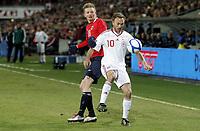 Fotball  , 26. mars 2011 , EM-kvalifisering<br /> Norge -  Danmark 1-1<br /> <br /> Euro-qual.<br /> Norway - Denmark<br /> <br /> Erik Huseklepp  , Norge<br /> Dennis Rommedahl , Danmark