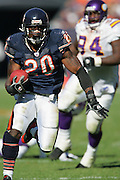 CHICAGO - OCTOBER 16:  Running back Thomas Jones #20 of the Chicago Bears dodges tacklers as he runs his way to the end zone for the first of two rushing touchdowns against the Minnesota Vikings at Soldier Field on October 16, 2005 in Chicago, Illinois. The Bears defeated the Vikings 28-3. ©Paul Anthony Spinelli *** Local Caption *** Thomas Jones