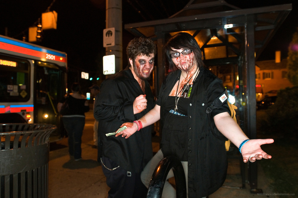 Corey and Alecia Stout after the 8th Annual Louisville Zombie Walk, Wednesday, Aug. 29, 2012 in Louisville, Ky. (Photo by Brian Bohannon)