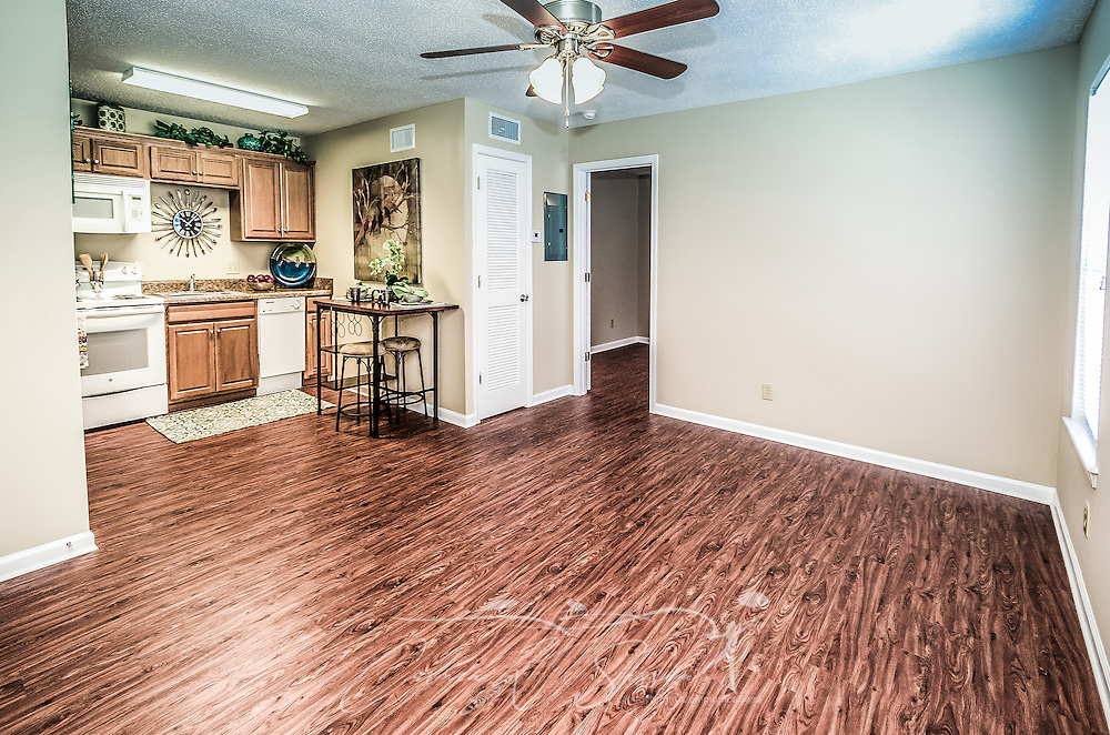 A living room and kitchen is pictured at Robinwood Apartments, June 11, 2015, in Mobile, Alabama. The one-bedroom apartments, located on Old Shell Road, are managed by Sealy Realty. (Photo by Carmen K. Sisson/Cloudybright)