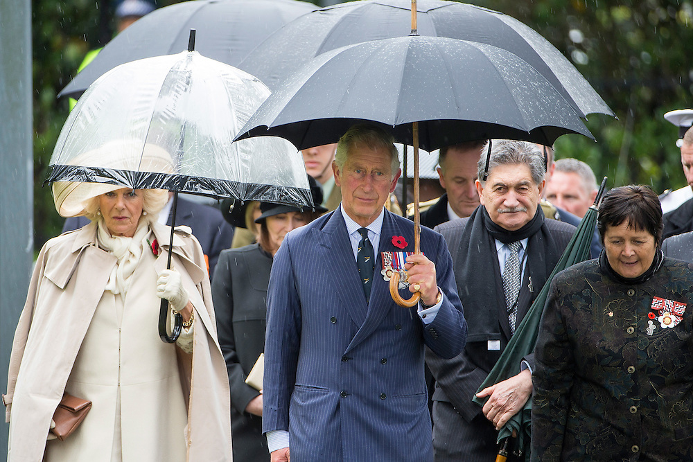 The Prince of Wales and The Duchess of Cornwall visit the National War Memorial, Wellington, New Zealand, on  Wednesday, November 04, 2015. Credit: SNPA / David Rowland