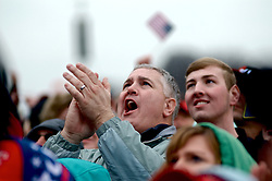 Supporters react as Donald Trump takes the oath of office and becomes the 45th President of the United States, during the January 20th, 2016 Inauguration Ceremony in Washington D.C.