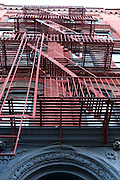 USA, New York City Fire escape stairs on the side of a building
