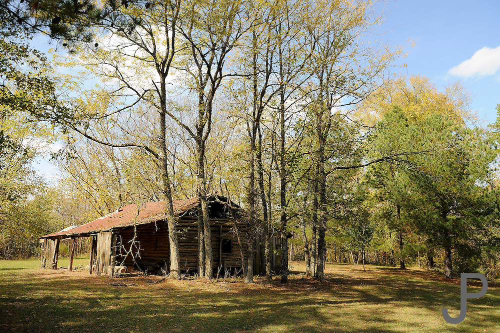 Abandoned log cabin near Cloudy in southeast Oklahoma