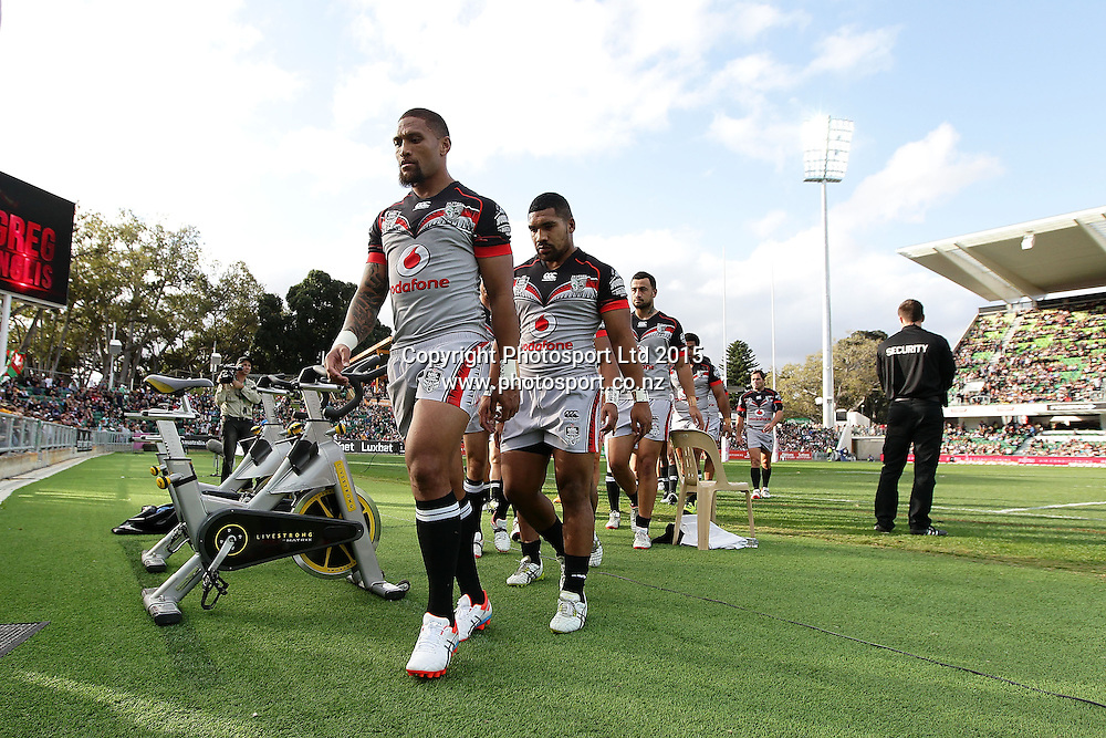 PERTH, AUSTRALIA - JUNE 06:  Siliva Havili of the Warriors leaves the field after the warm up before the 2015 NRL Round 13 Rugby League match between the Vodafone Warriors and The Rabbitohs at NIB Stadium, Perth, Australia on June 6, 2015. (Copyright photo Will Russell/www.Photosport.co.nz)