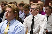 Ohio University College of Business incoming freshmen listen during the Freshman Convocation at Nelson Commons on Aug. 23, 2014. Photo by Lauren Pond