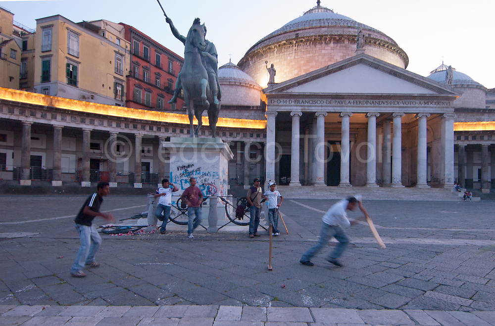 Cricket is the national sport. Playing in Piazza Plebiscito