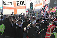 The EDL came to Peterborough to protest against the rise of extreme Islam and imposition of Sharia Law. There was a counter demonstration by the TUC. Peterborough, UK, 11/12/2010