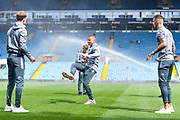 Leeds United midfielder Kalvin Phillips (23) Leeds United forward Patrick Bamford (9) and Leeds United defender Ben White (5) arrive at the ground before the EFL Sky Bet Championship match between Leeds United and Swansea City at Elland Road, Leeds, England on 31 August 2019.