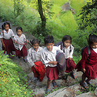 Asia, Nepal, Ghandruk. School children of the Annapurna Region.
