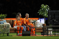 (L-R) Jessey Sneijder, Yolanthe Sneijder-Cabau, Wesley Sneijder of Holland, Xess Xava during the International friendly match match between The Netherlands and Peru at the Johan Cruijff Arena on September 06, 2018 in Amsterdam, The Netherlands