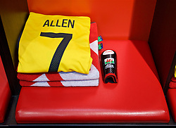 CHIȘINĂU, MOLDOVA - Tuesday, September 5, 2017: The shirt of Wales' Joe Allen in the dressing room ahead of the 2018 FIFA World Cup Qualifying Group D match between Moldova and Wales at the Zimbru Stadium. (Pic by David Rawcliffe/Propaganda)