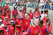 Niall McNelis from Galway  finishes the 2012 CBE Great Ethiopian  Run (the Biggest road race in Africa with over 36,000 participants). Niall and 15 other irish people raised thousands of Euro  for Self Help Africa to continue development programmes in  Africa. Photo:Andrew Downes.