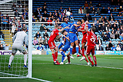 Peterborough United defender Rhys Bennett (16) wins this header during the EFL Sky Bet League 1 match between Peterborough United and Accrington Stanley at London Road, Peterborough, England on 20 October 2018.
