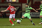 Forest Green Rovers Chris Clements(22) intercepts the ball during the EFL Sky Bet League 2 match between Crewe Alexandra and Forest Green Rovers at Alexandra Stadium, Crewe, England on 20 March 2018. Picture by Shane Healey.