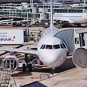 PARIS, FRANCE - 2 SEPTEMBER 2015: Air France airplane at the terminal gate of Charles de Gaulle Airport