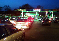 © Licensed to London News Pictures. 29/03/2012.People still Queuing for Petrol.  Panic buying tonight 8pm (29.03.2012) at Sidcup Tesco Station,in South East London..Photo credit : Grant Falvey/LNP