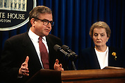 WASHINGTON, DC, USA - 1997/03/18: U.S. National Security Advisor Sandy Berger, left, and Secretary of State Madeleine Albright during a briefing on proposed NATO expansion at the White House March 18, 1997 in Washington, DC.     (Photo by Richard Ellis)