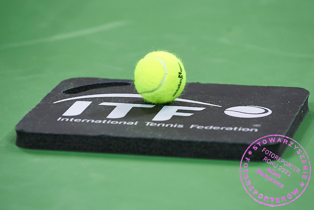 Wilson ball - official ball during First Day of the Fed Cup / World Group 1st round tennis match between Poland and Russia at Tauron Krakow Arena on February 7, 2015 in Cracow, Poland.<br /> <br /> Poland, Cracow, February 7, 2015<br /> <br /> Picture also available in RAW (NEF) or TIFF format on special request.<br /> <br /> For editorial use only. Any commercial or promotional use requires permission.<br /> <br /> Adam Nurkiewicz declares that he has no rights to the image of people at the photographs of his authorship.<br /> <br /> Mandatory credit:<br /> Photo by &copy; Adam Nurkiewicz / Mediasport