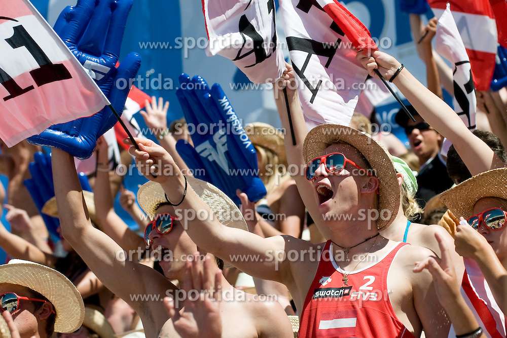 Fans at A1 Beach Volleyball Grand Slam tournament of Swatch FIVB World Tour 2010, bronze medal, on August 1, 2010 in Klagenfurt, Austria. (Photo by Matic Klansek Velej / Sportida)