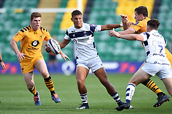 Harry Ascherl of Bristol Bears takes on the Wasps defence - Mandatory byline: Patrick Khachfe/JMP - 07966 386802 - 14/09/2019 - RUGBY UNION - Franklin's Gardens - Northampton, England - Premiership Rugby 7s (Day 2)