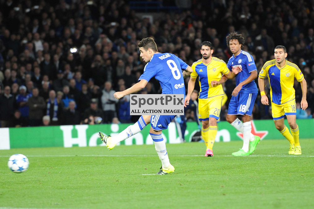 Chelseas Oscar scores the second goal from the spot during the Chelsea v Maccabi Tell-Aviv champions league match in the group stage.