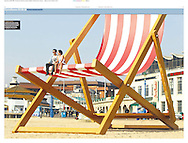 Editorial photography. Giant deckchair on Brighton beach for Pimms.