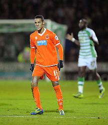 Blackpool's Thomas Ince remonstrates with Referee, Christopher Sarginson - Photo mandatory by-line: Joe Meredith/JMP - Tel: Mobile: 07966 386802 03/12/2013 - SPORT - Football - Yeovil - Huish Park - Yeovil Town v Blackpool - Sky Bet Championship