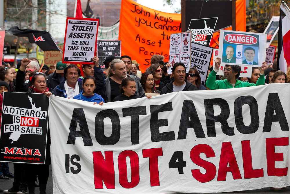 Supporters take part in the protest march - Aotearoa Not for Sale - a demonstration against privatising state assets, Queen Street, Auckland, New Zealand, Saturday, July 14, 2012.  Credit:SNPA / David Rowland