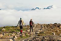 Climbers / Hikers descend the Skyline trail on Mount Rainier in Washington, USA.