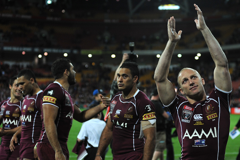 July 6th 2011: Darren Lockyer of the Maroons tanks the fans after game 3 of the 2011 State of Origin series at Suncorp Stadium in Brisbane, QLD, Australia on July 6, 2011. Photo by Matt Roberts / mattrimages.com.au / QRL