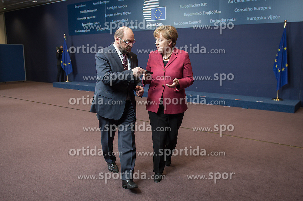 (L-R) Martin Schulz, the president of the European Parliament and German Federal Chancellor Angela Merkel during family photo at the first day of EU leaders summit on migration at European Council headquarters in Brussels, Belgium on 17.03.2016. EXPA Pictures &copy; 2016, PhotoCredit: EXPA/ Photoshot/ Wiktor Dabkowski<br /> <br /> *****ATTENTION - for AUT, SLO, CRO, SRB, BIH, MAZ, SUI only*****