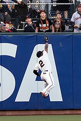 SAN FRANCISCO, CA - JULY 28: Denard Span #2 of the San Francisco Giants catches a fly ball hit off the bat of Daniel Murphy (not pictured) of the Washington Nationals during the first inning at AT&T Park on July 28, 2016 in San Francisco, California.  (Photo by Jason O. Watson/Getty Images) *** Local Caption *** Denard Span