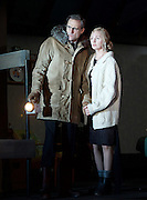 The Red Barn <br /> by David Hare <br /> based on the novel La Main by Georges Simenon <br /> at the Lyttelton Theatre, London, Great Britain <br /> Press photocall <br /> 14th October 2016 <br /> directed by Robert Icke <br /> Designed by Bunny Christie <br /> <br /> Mark Strong as Donald Dodd<br /> <br /> Hope Davis as Ingrid Dodd<br /> <br /> <br /> Photograph by Elliott Franks <br /> Image licensed to Elliott Franks Photography Services