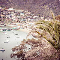 Catalina Island Avalon Bay retro picture. Catalina Island is a popular destination off the coast of Southern California in the United States.
